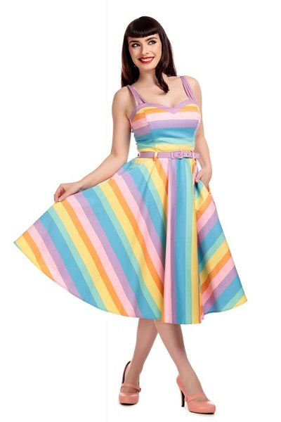 Collectif Nova Candy Rainbow Swing Dress