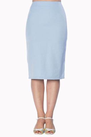 Banned Apparel Paula Pencil  Skirt Blue