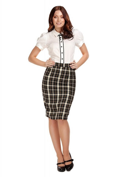 Collectif Polly Geek Check Skirt
