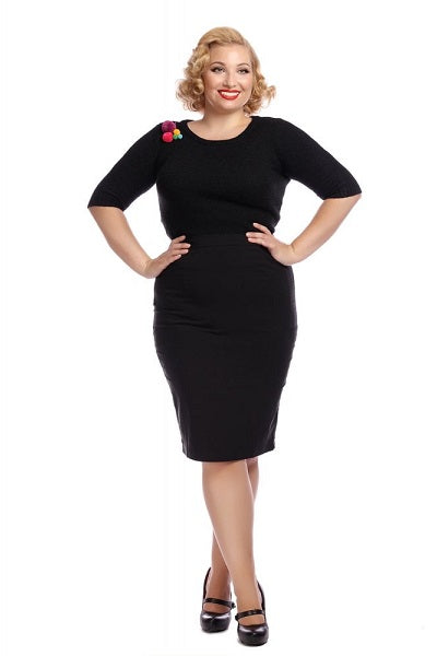 Collectif Polly Black Bengaline Skirt