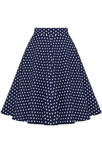 Dolly & Dotty Shirley Skirt Navy Polka Dot