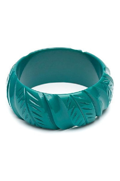 Splendette CLASSIC Bangle Wide - Fakelite Heavy Carve Jade Green