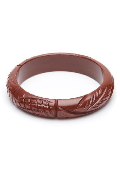Splendette Bangle Midi - Fakelite Heavy Carve Tobacco