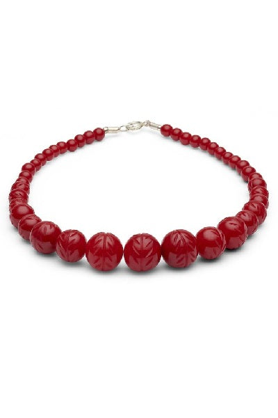 Splendette Necklace - Carved Poppy Red