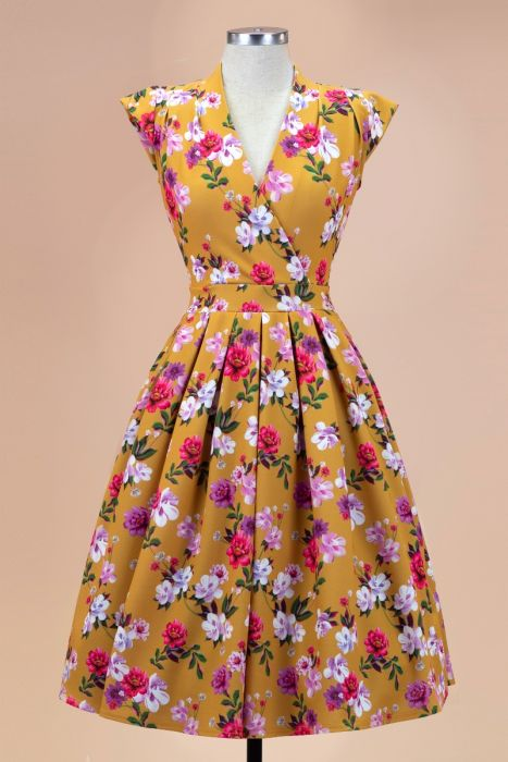 Lady V London Eva Mustard Floral Dress