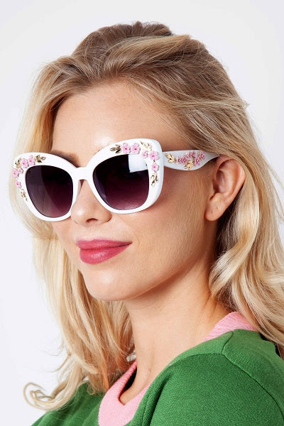 Voodoo Vixen Sunglasses Floral Fashion - White