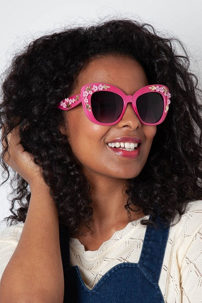 Voodoo Vixen Sunglasses Floral Fashion - Pink