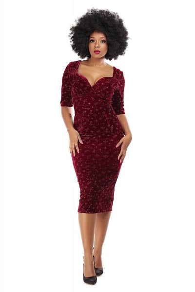 Collectif Trixie Pencil Dress Red Velvet Sparkle
