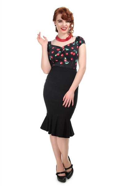 Collectif Winifred Fishtail Black Skirt