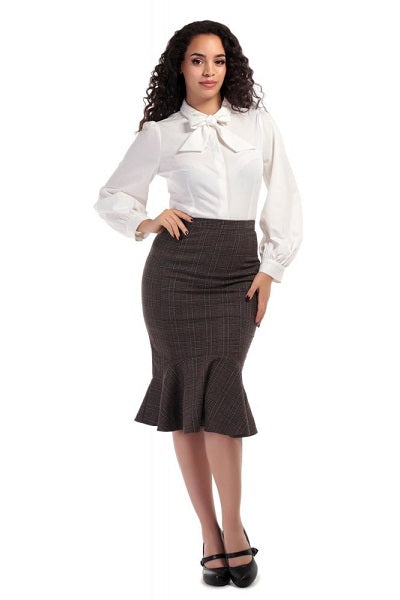 Collectif Winifred Fishtail Librarian Check Skirt