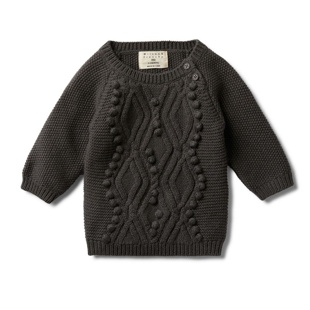 Cable knitted pom pom jumper/ Dark moon