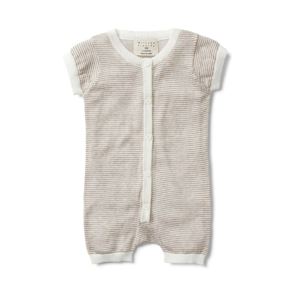 Woodsmoke stripe knitted short sleeve growsuit