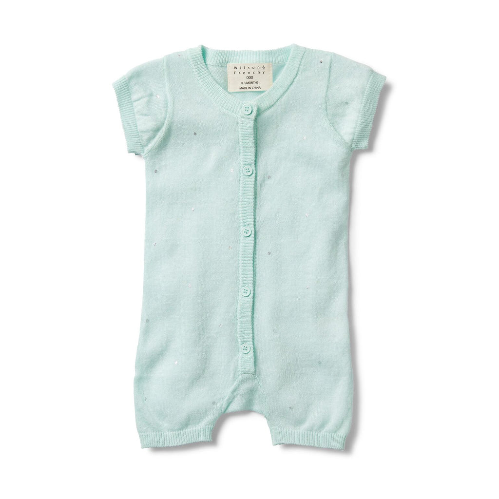 Moon drops knitted short sleeve growsuit