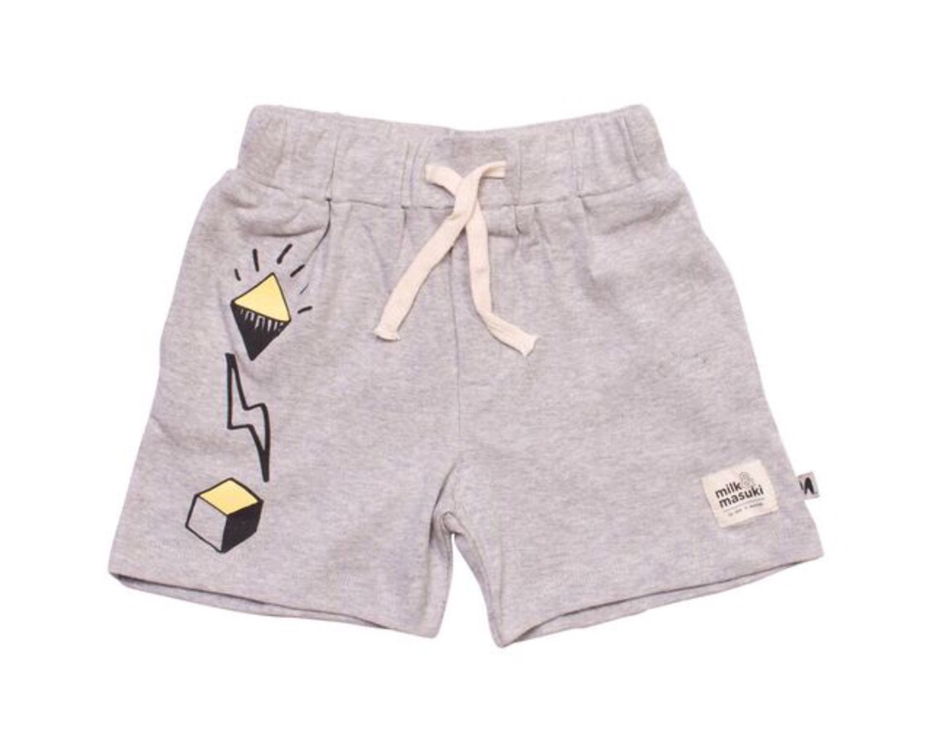 Milk & Masuki Symbols - Grey Marle - Shorts