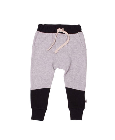 Black and grey panel trackies