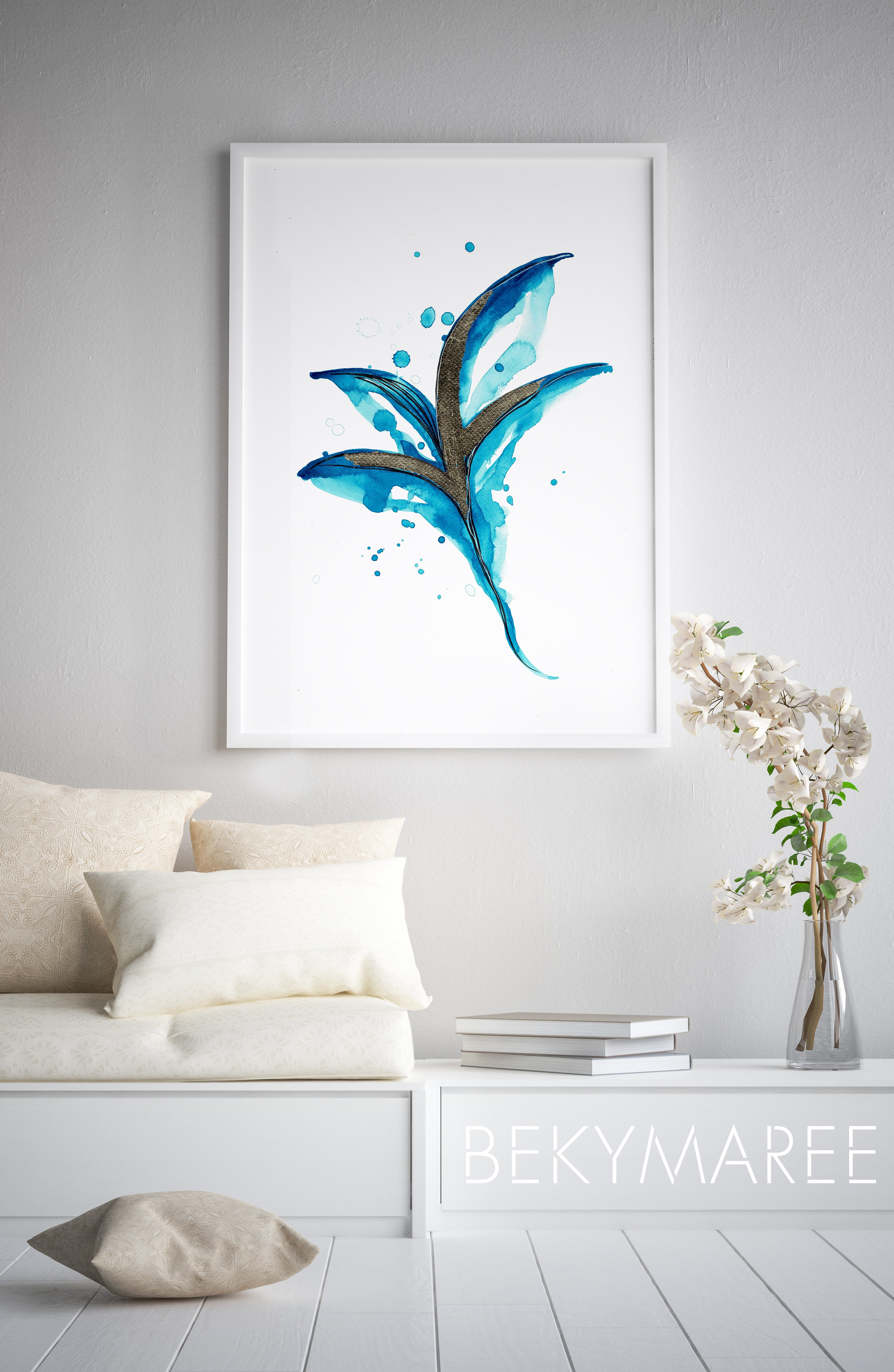 Original Turquoise Foliage with Gold Foil - Bekymaree