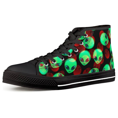 Aliens Black High Top Canvas Shoes