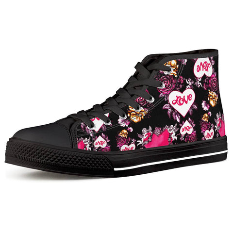 Cupid Black High Top Canvas Shoes