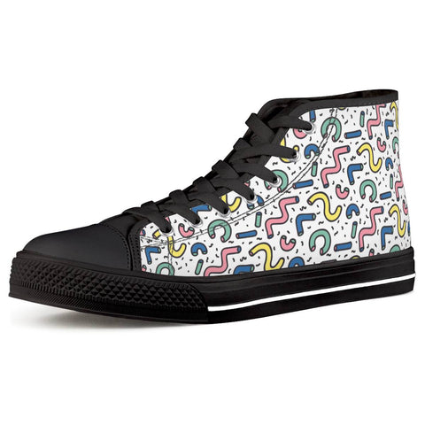 Gettin' Jiggy - Black High Top Canvas Shoes