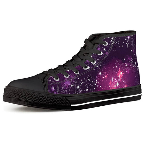 Cosmic Sparkle - Black High Top Canvas Shoes