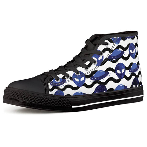Outta Here - Black High Top Canvas Shoes