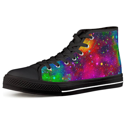Acid Rainbow - Black High Top Canvas Shoes