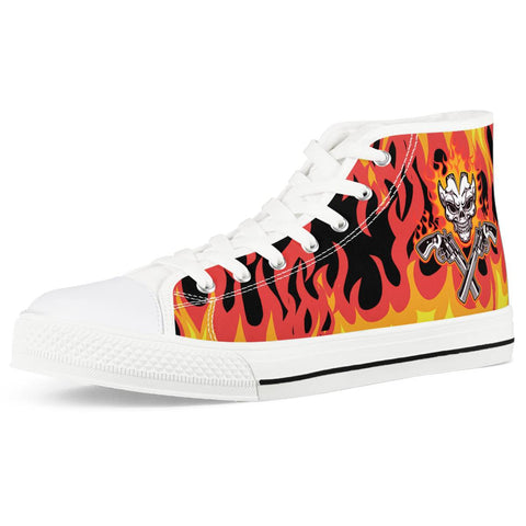 Skull and gun White High Top Canvas Shoes