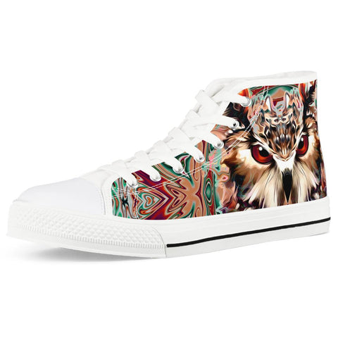 owl White High Top Canvas Shoes