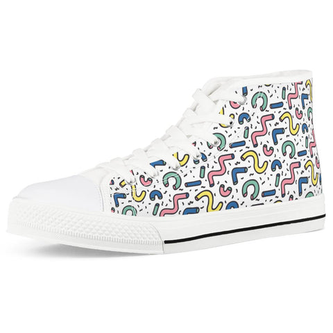Gettin' Jiggy - White High Top Canvas Shoes