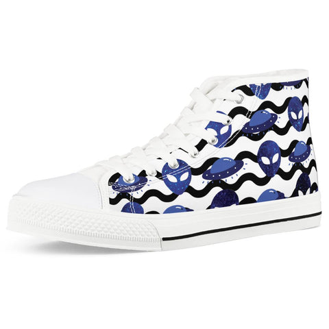 Outta Here - White High Top Canvas Shoes