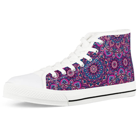 Garden Goddess - White High Top Canvas Shoes