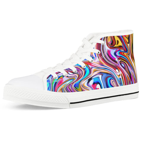 Lucid Dream - White High Top Canvas Shoes