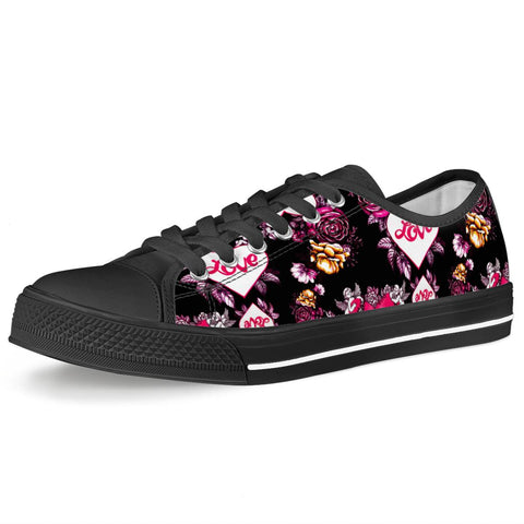 Garden of Love - Black Low Top Canvas Shoes
