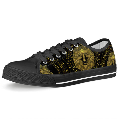 Golden Lion - Black Low Top Canvas Shoes