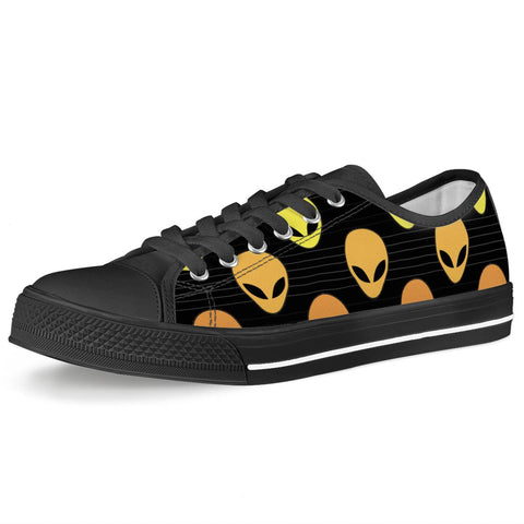 Alien Invasion - Black Low Top Canvas Shoes