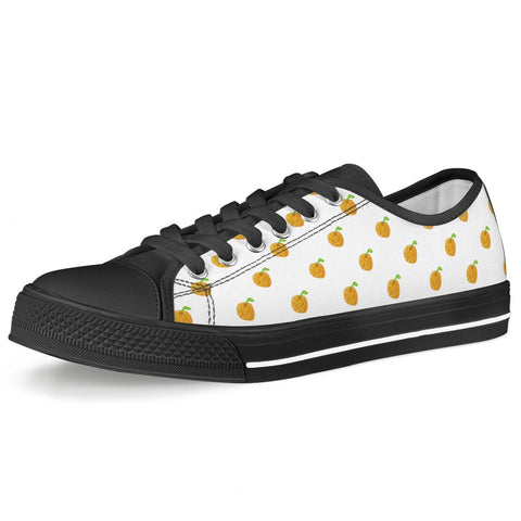 Orange Cartoon Drawing Pattern Design Black Low Top Canvas Shoes