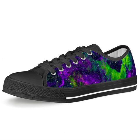 Green Galaxy - Black Low Top Canvas Shoes