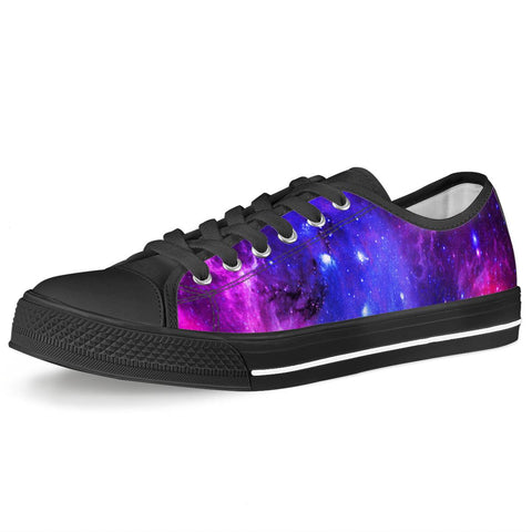 Pink Galaxy - Black Low Top Canvas Shoes