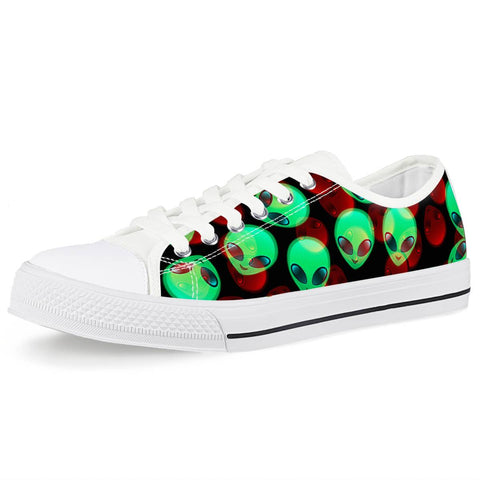 Aliens White Low Top Canvas Shoes