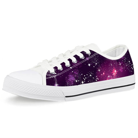 Cosmic Sparkle - White Low Top Canvas Shoes
