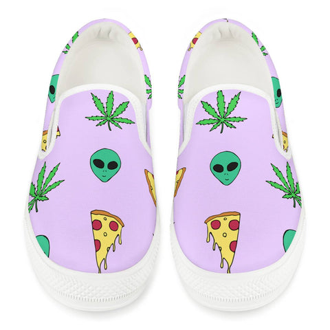 Alien Pizza Weed - White Slip On Shoes
