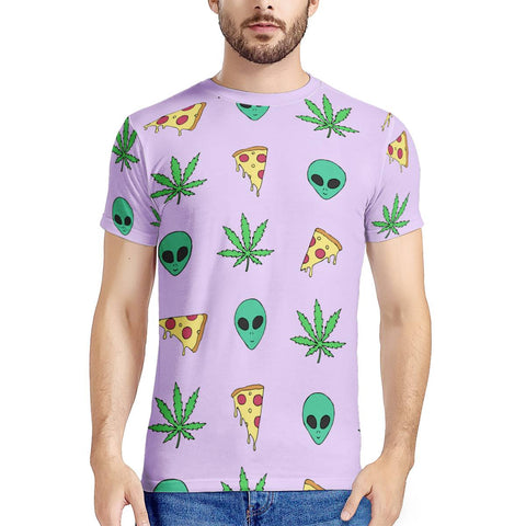 Alien Pizza Weed - New Men's All Over Print T-shirt