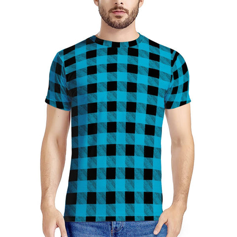 Blue Plaid - New Men's All Over Print T-shirt