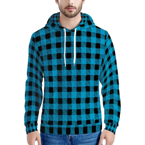 Blue Plaid - Men's All Over Print Hoodie