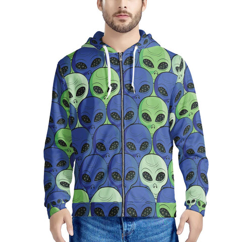 Spaced Out - Men's All Over Print Zip Hoodie