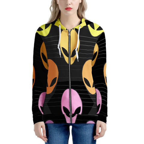 Alien Invasion - Women's All Over Print Zip Hoodie