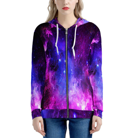 Pink Galaxy - Women's All Over Print Zip Hoodie