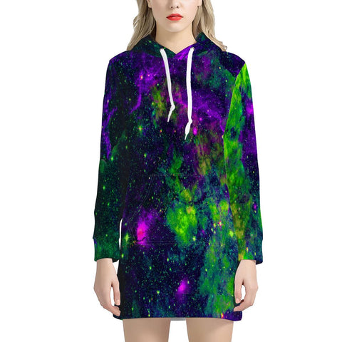 Green Galaxy - Women's Hoodie Dress