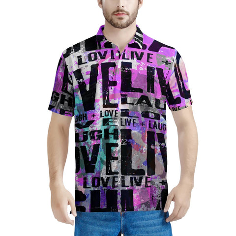 Live Laugh Love Men's All Over Print Polo Shirt