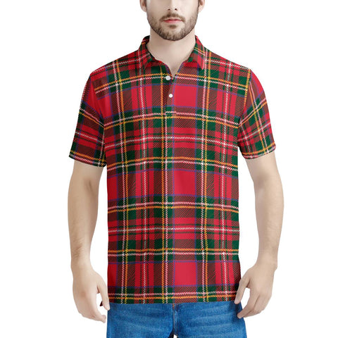 Red Plaid - Men's All Over Print Polo Shirt
